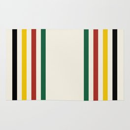 Rustic Lodge Stripes Black Yellow Red Green Rug