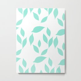 Autumn Leaves Pattern #2 #Mint #foliage #decor #art #society6 Metal Print