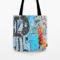 detroit Tote Bags featuring DETROIT GRAFFITI by Brittany Gonte