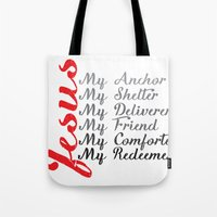 jesus Tote Bags featuring Jesus by DaceDesigns