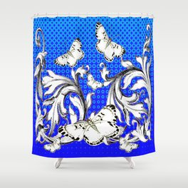 WHITE BUTTERFLIES FLUTTERING WITH BAROQUE FLORAL Shower Curtain