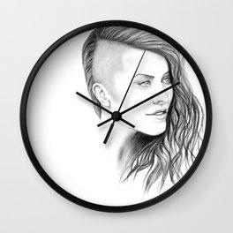 Simone - Original Portrait Drawing Wall Clock