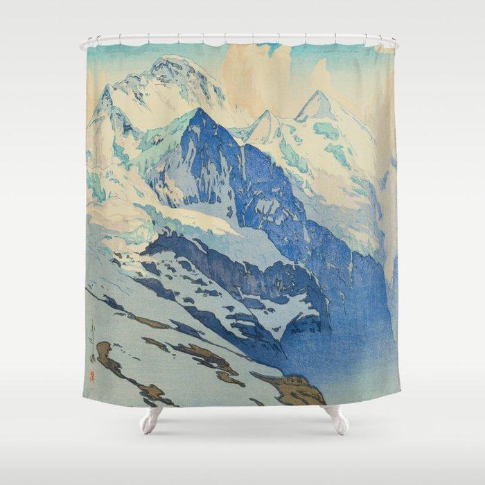 The Jungfrau Vintage Beautiful Japanese Woodblock Print Hiroshi Yoshida Shower Curtain