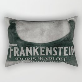 Frankenstein, vintage movie poster, Boris Karloff, horror film, Mary Shelley book cover Rectangular Pillow