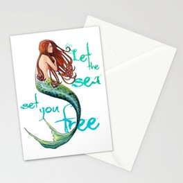 Mermaid: Let the sea set you free Stationery Cards