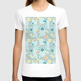 Modern teal orange black geometrical shapes confetti pattern T-shirt