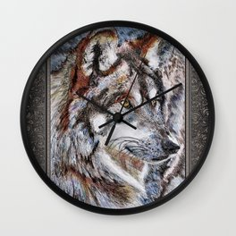 Gray Wolf Watches and Waits Wall Clock