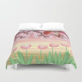 cardinals & tulips in spring Duvet Cover