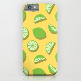 Green Lime Slice Pattern on Yellow iPhone Case