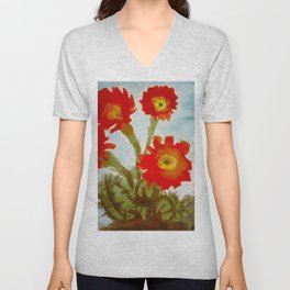 Red Epiphyllum Orchid Cactus still life painting by Emil Nolde Unisex V-Neck