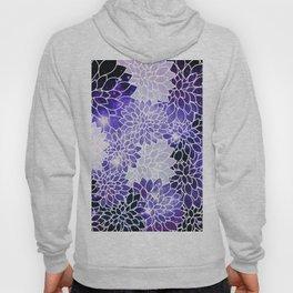 Space Dahlias Indigo Blue Purple Hoody