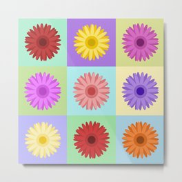 Gerbera Daisies Bright Color Design Metal Print