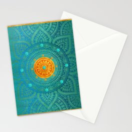 """Turquoise and Gold Mandala"" Stationery Cards"