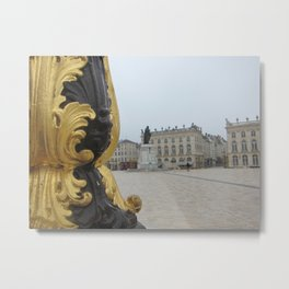 Gilded No. 1-Lamppost at Place Stanislas in Nancy, France (2012) Metal Print