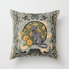 Cat Nouveau Throw Pillow