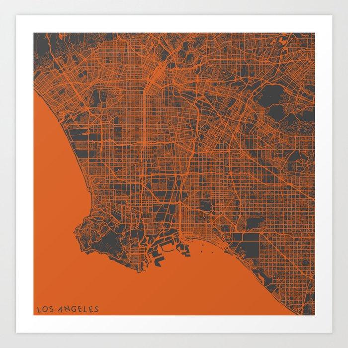 Los Angeles Map orange Art Print