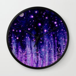 Vibrant trees in Alcohol ink Wall Clock