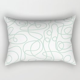 Doodle Line Art   Mint Green Lines on White Background Rectangular Pillow