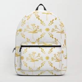 Luxe Gold Foil Floral Lattice Seamless Vector Pattern, Hand Drawn Damask Backpack