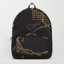 ABU DHABI UAE GOLD ON BLACK CITY MAP Backpack