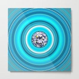 Blue Line - Objects THREE - Diamond Mandala Metal Print