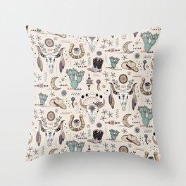 Boho Tribal Cowgirl Ephemera - cream Throw Pillow
