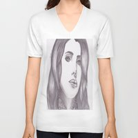 celebrity V-neck T-shirts featuring Celebrity Portrait by N. Rogers Fine Art