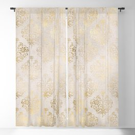 Elegant Cream and Gold Diamond Damask Blackout Curtain