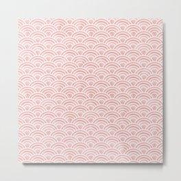 Japanese Seigaiha Wave - Blush Watercolor Pattern, Pink Folklore Art Metal Print