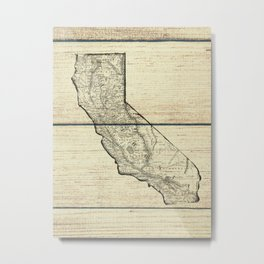 Vintage Map of California Metal Print