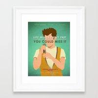 ferris bueller Framed Art Prints featuring Ferris Bueller (80's Minimalism Series) by Trevor Downs