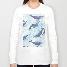 Big space whales light blue pattern Long Sleeve T-shirt