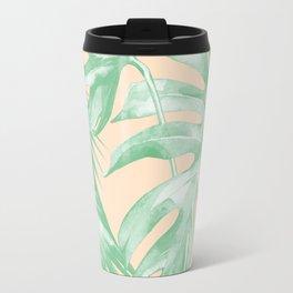 Tropical Leaves Palm Green on Citrus Travel Mug