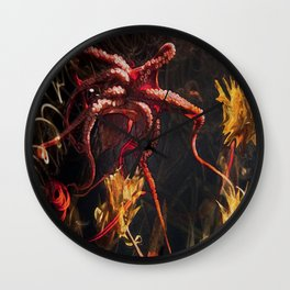 Blooming Crimson Octopus Wall Clock
