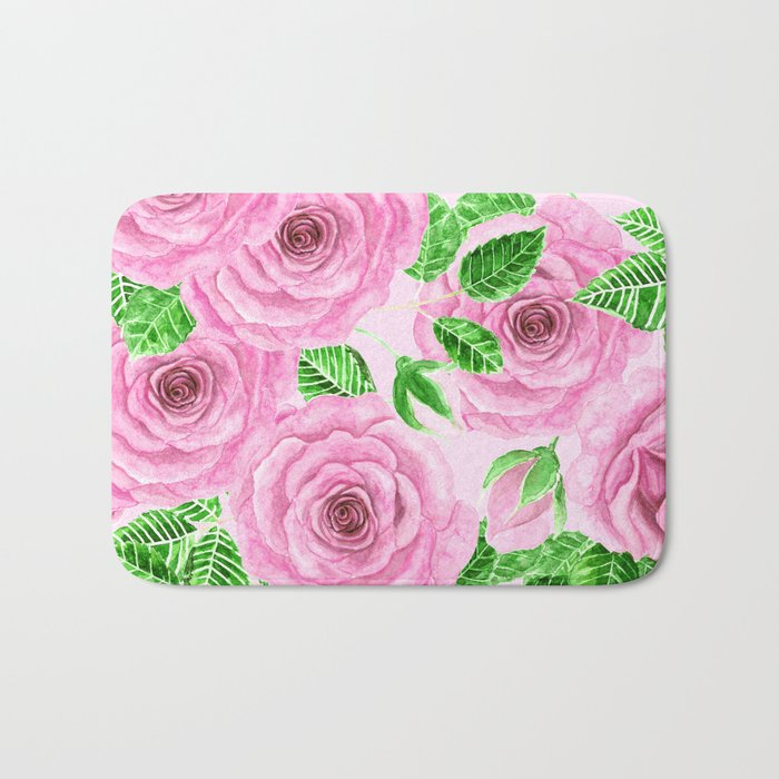 Pink watercolor roses with leaves and buds pattern Bath Mat