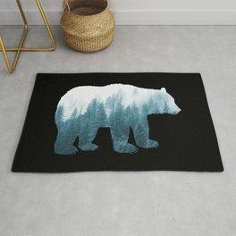 Misty Forest Bear - Turqoise Rug