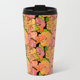 Saffron Yellow and Mauve Hibiscus Flower Pattern Travel Mug