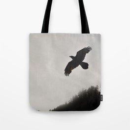 Raven Corvid Bird Northwest Mist Fog Forest Beach Landscape Oregon Tote Bag