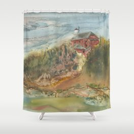 Marquette Lighthouse in the Summer Shower Curtain