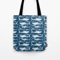 sharks Tote Bags featuring Sharks by Miranda Montes