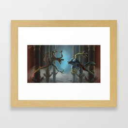 Riptor Vs Sabrewulf Framed Art Print