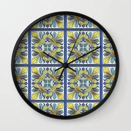 South Italian Vintage Majolica Tiles Wall Clock