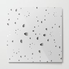 Glowing drops and petals on a gray background in nacre. Metal Print