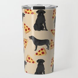 Black lab pizza dog breed pet portrait gifts for labrador retriever lovers Travel Mug