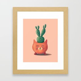 Cute cat cactus pot illustration Framed Art Print