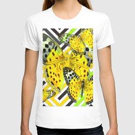 CONTEMPORARY GREY & YELLOW PATTERN BUTTERFLIES T-shirt