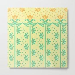 Vintage Art Deco floral pattern Metal Print