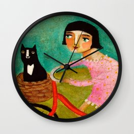 Bike Ride to the Vet by Tascha Wall Clock