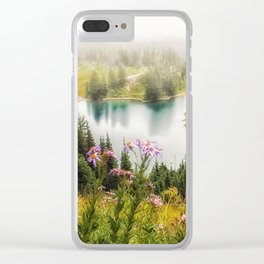 Mountain Lake Wildflowers Clear iPhone Case