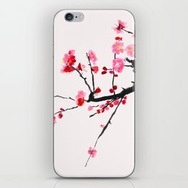 red plum flower red background iPhone Skin